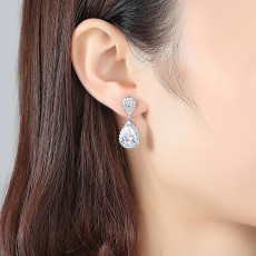 Classic Pear Cut Wedding Earrings