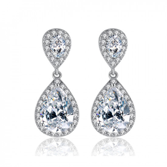 Classic Pear Cut Wedding Earrings