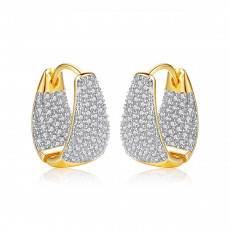 Pave CZ Gold Hoop Earrings