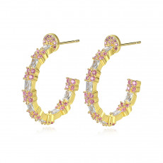 Elegant CZ Hoop Earrings