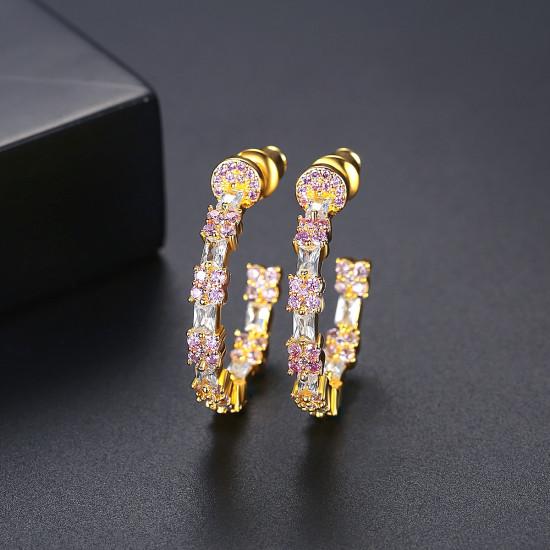 Elegant CZ Hoop Earrings