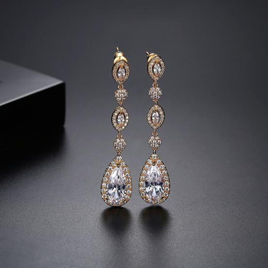 Cinderella Teardrop Earrings, Gold or Silver