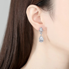 Teardrop Dangle Earrings, Cubic Zirconia Bridal Earrings