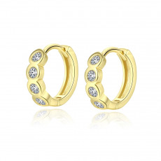 CZ Gold Huggie Earrings