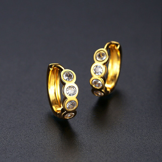 CZ Gold Huggie Earrings