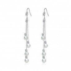 Water Drop CZ Pearl Earrings