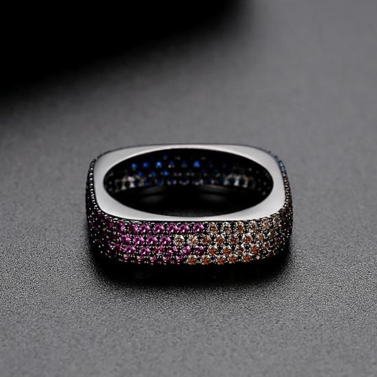 Mystic Multicolor Ring In Black Gold