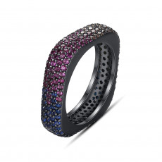 Mystic Multicolor Ring In Black Gold