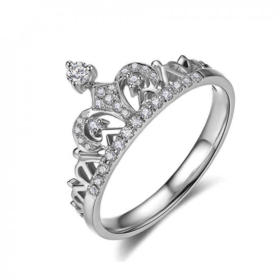 Pave CZ Crown Ring In Silver