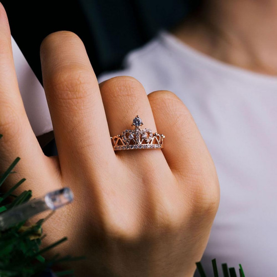 Pave CZ Crown Ring In Rose Gold