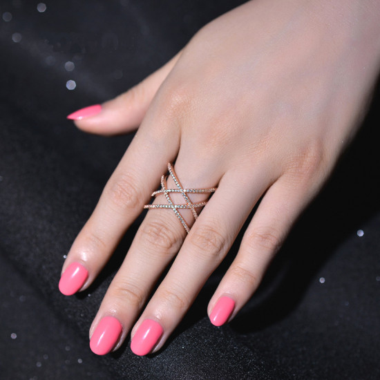 Classy Double X Ring Rose Gold