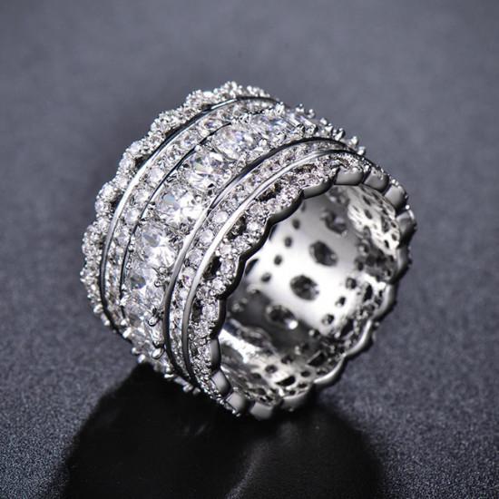 Unique Wedding Band, Art Deco Cubic Zirconia Ring, Eternity Ring