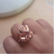 Camellia Flower Ring In Rose Gold