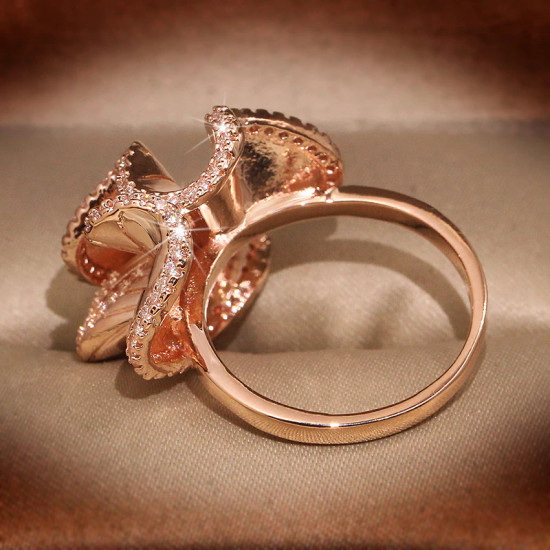Camellia Flower Ring In Rose Gold
