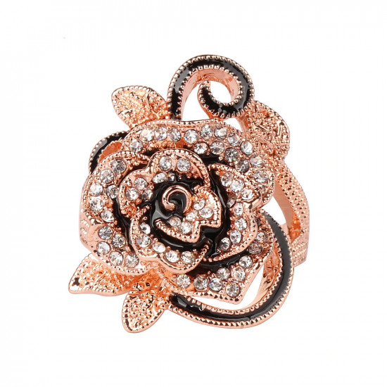 Rose Gold Flower Ring With CZ