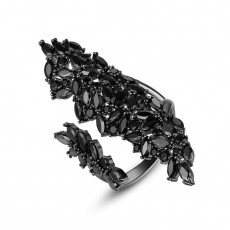 Magnificent Black Zircon Open Ring