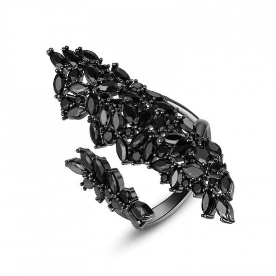 Magnificent Black Zircon Open Ring