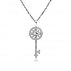 Victoria Round Key Pendant Necklace