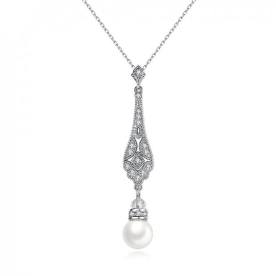 Art Deco Pearl Pendant Necklace