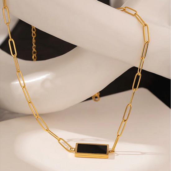 Black Rectangle Pendant Necklace