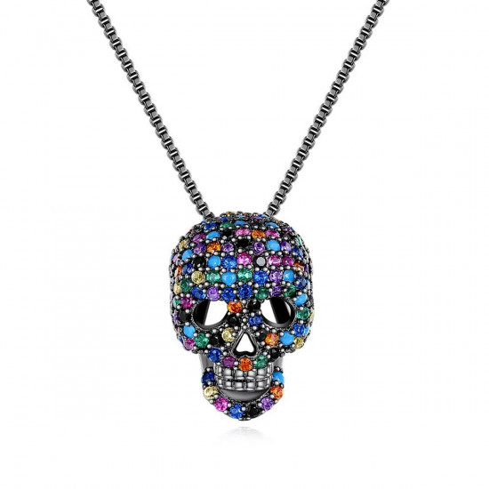 CZ Skull Pendant Necklace, Black Or Silver