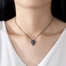 CZ Skull Pendant Necklace, Black Or Silver