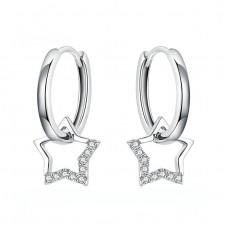 Sterling Silver Star Hoop Earrings With Cubic Zirconia