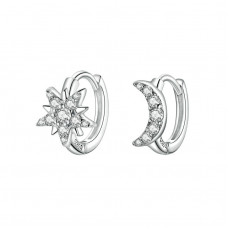 Sterling Silver Celestial Moon Star Huggie Earrings