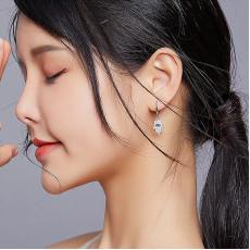 Sterling Silver Fatima Charm Hoop Earrings