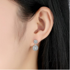 Sterling Silver Circle Drop Earrings With Cubic Zirconia