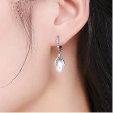 Sterling Silver Blooming Pearl Hoop Earrings