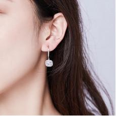 Sterling Silver Square CZ Hoop Earrings