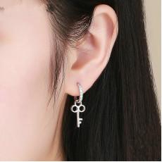 Sterling Silver Key Padlock Hoop Earrings