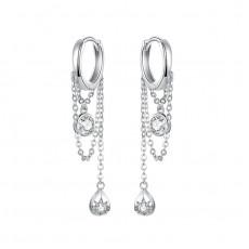 Sterling Silver Water Drop Hoop Earrings