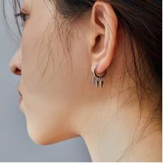 Sterling Silver Spikes Hoop Earrings