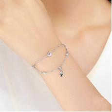 Sterling Silver Double Chain Heart Bracelet
