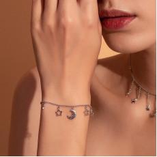 Sterling Silver Celestial Moon Stars Bracelet