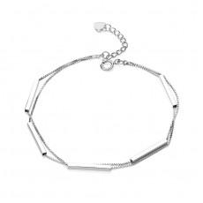 Sterling Silver Bar Double Chain Bracelet