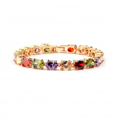 Multi-Color CZ Gold Tennis Bracelet