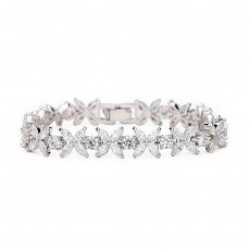 Four Petal Flower Tennis Bracelet
