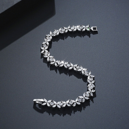 Four Petal Flower Tennis Bracelet