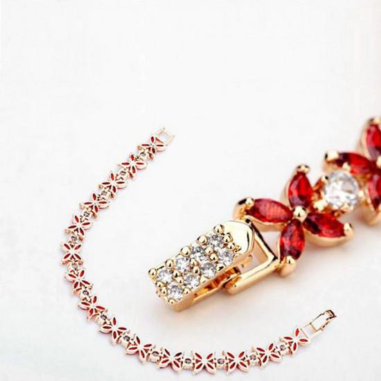 Four Petal Flower Gold Tennis Bracelet
