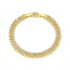 Deluxe Three Row Gold Tennis Bracelet