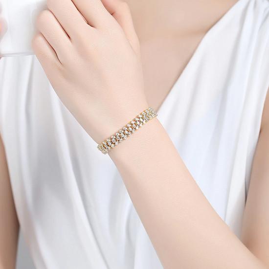 Deluxe Three Row Gold Tennis Bracelet