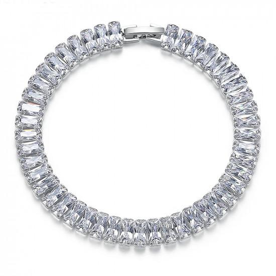 Emerald Cut CZ Diamond Tennis Bracelet In White Gold