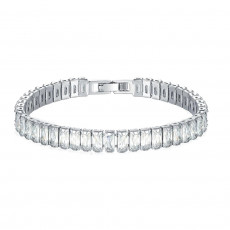Emerald Cut CZ Diamond Tennis Bracelet In White Gold