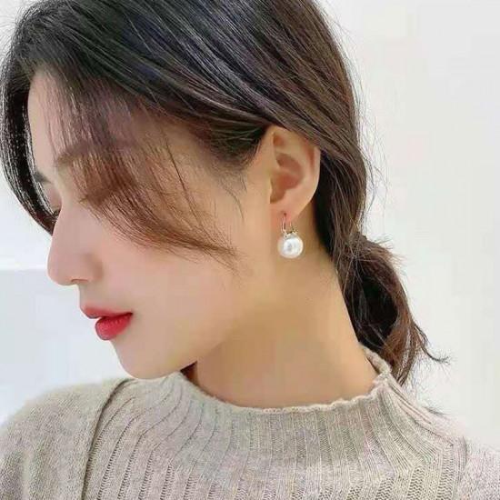 Elegant Pearl Hoop Earrings