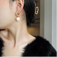 Trendy Pearl Hoop Earrings