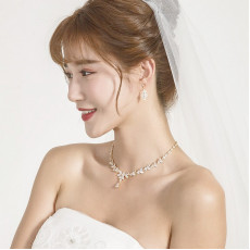 Bridal Leaf  Silver Wedding Necklace Set
