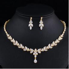 Bridal Leaf Gold Wedding Necklace Set